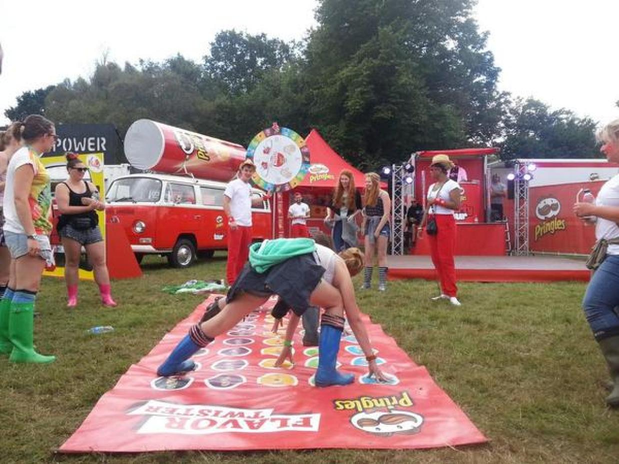 Playing Twister at the Pringles stand