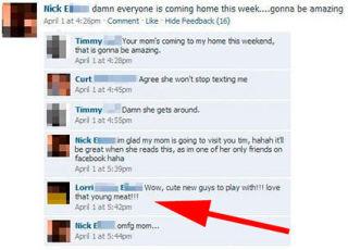 Mom cougar Facebook fail