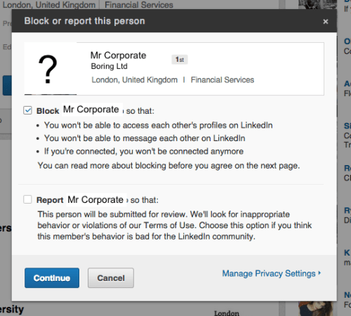 LinkedIn block