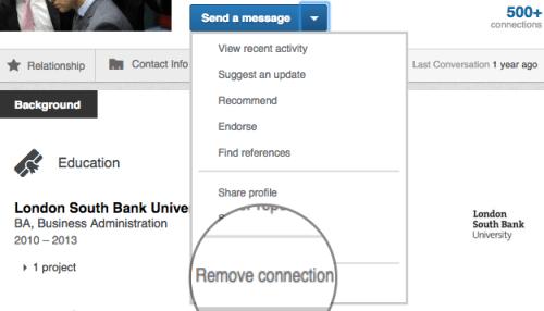 LinkedIn remove connection