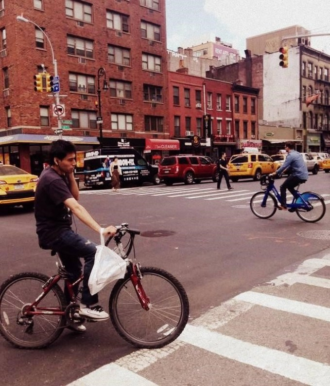 Cyclists ignore red lights even more recklessly than in London, but manage to look a lot more relaxed doing it...