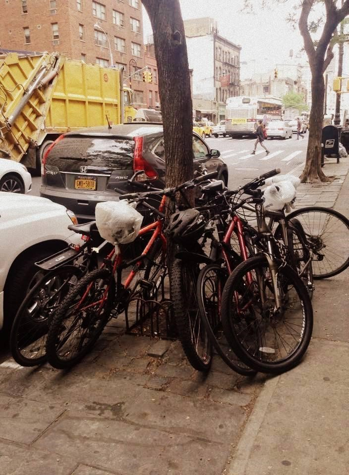 There aren't that many designated spaces to safely lock your bicycle in Manhattan, so sights such as this are common.