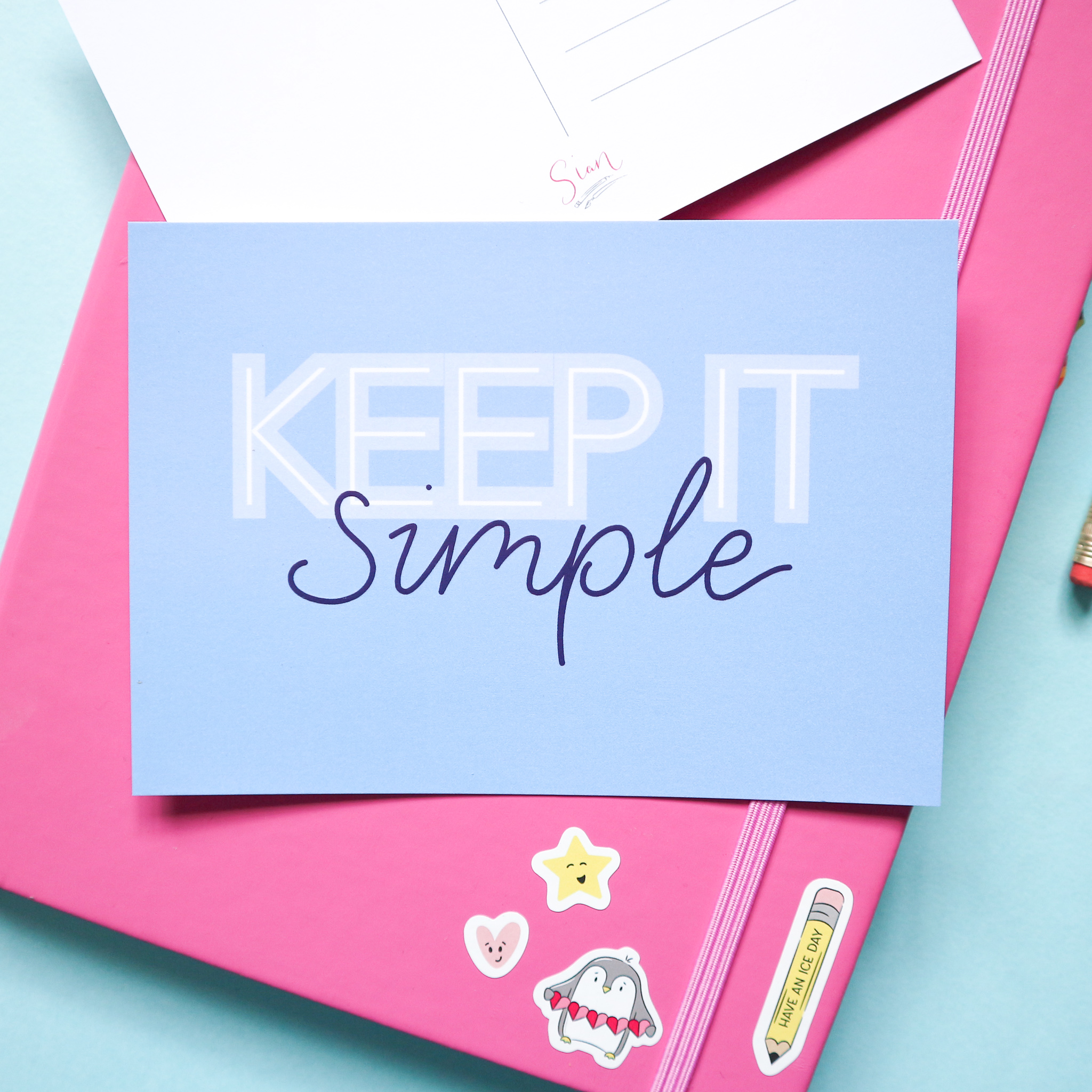 Keep it simple postcard design by Sian Shrimpton