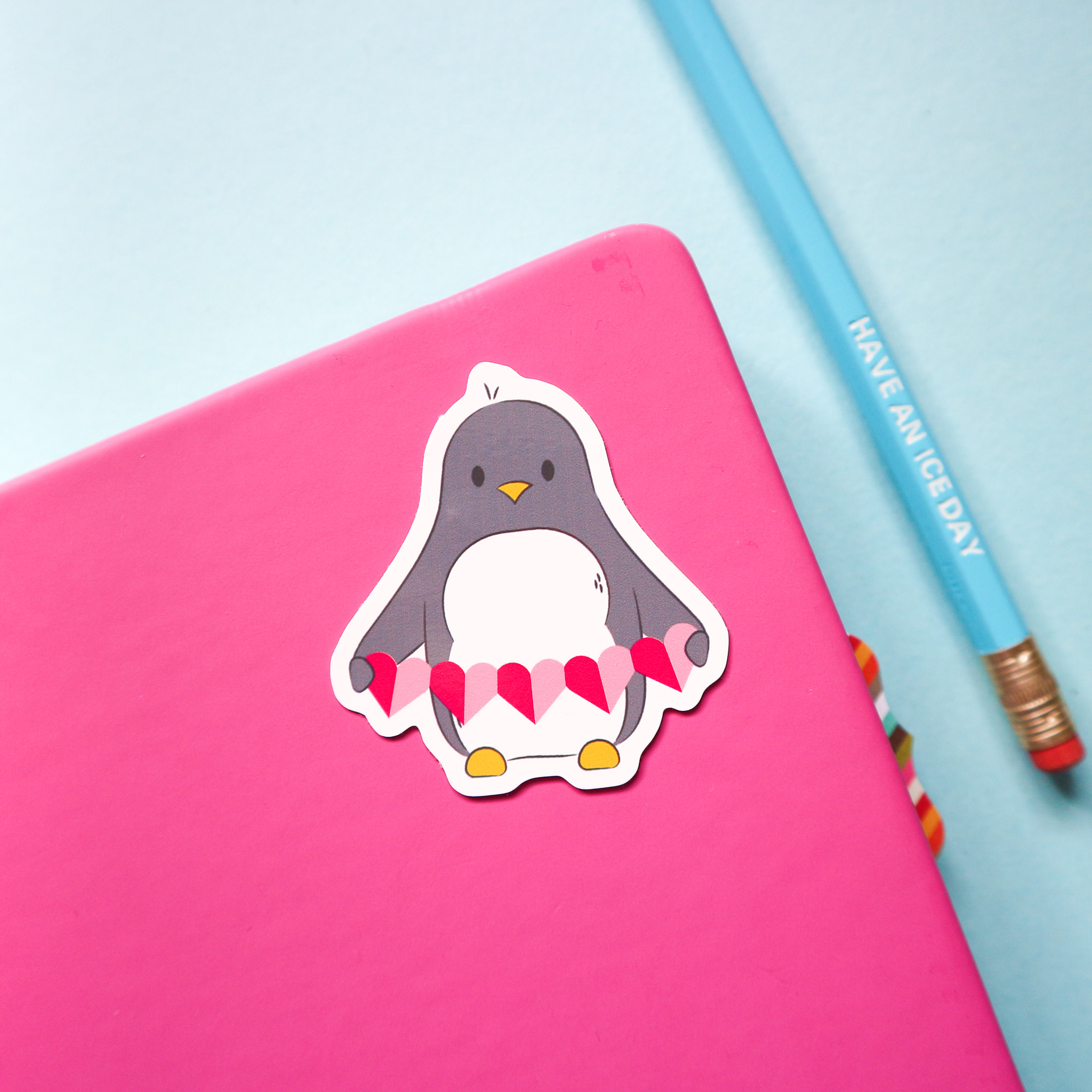 Penguin with Heart Garland Sticker by SianShrimpDesign