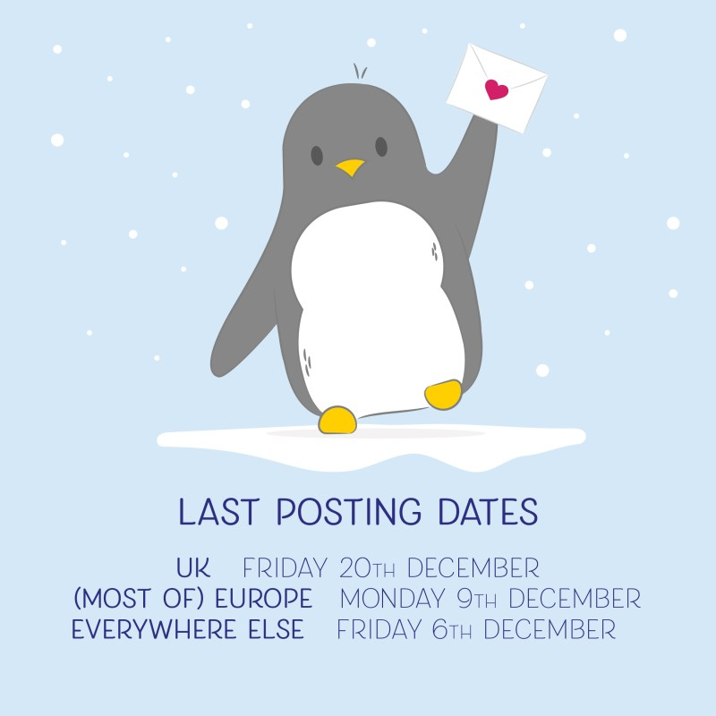 "an illustration of a penguin holding an envelope and text below saying ""LAST POSTING DATES - UK - Tuesday 20th December, (Most of) Europe - Monday 9th December and Everywhere else - Friday 6th December"
