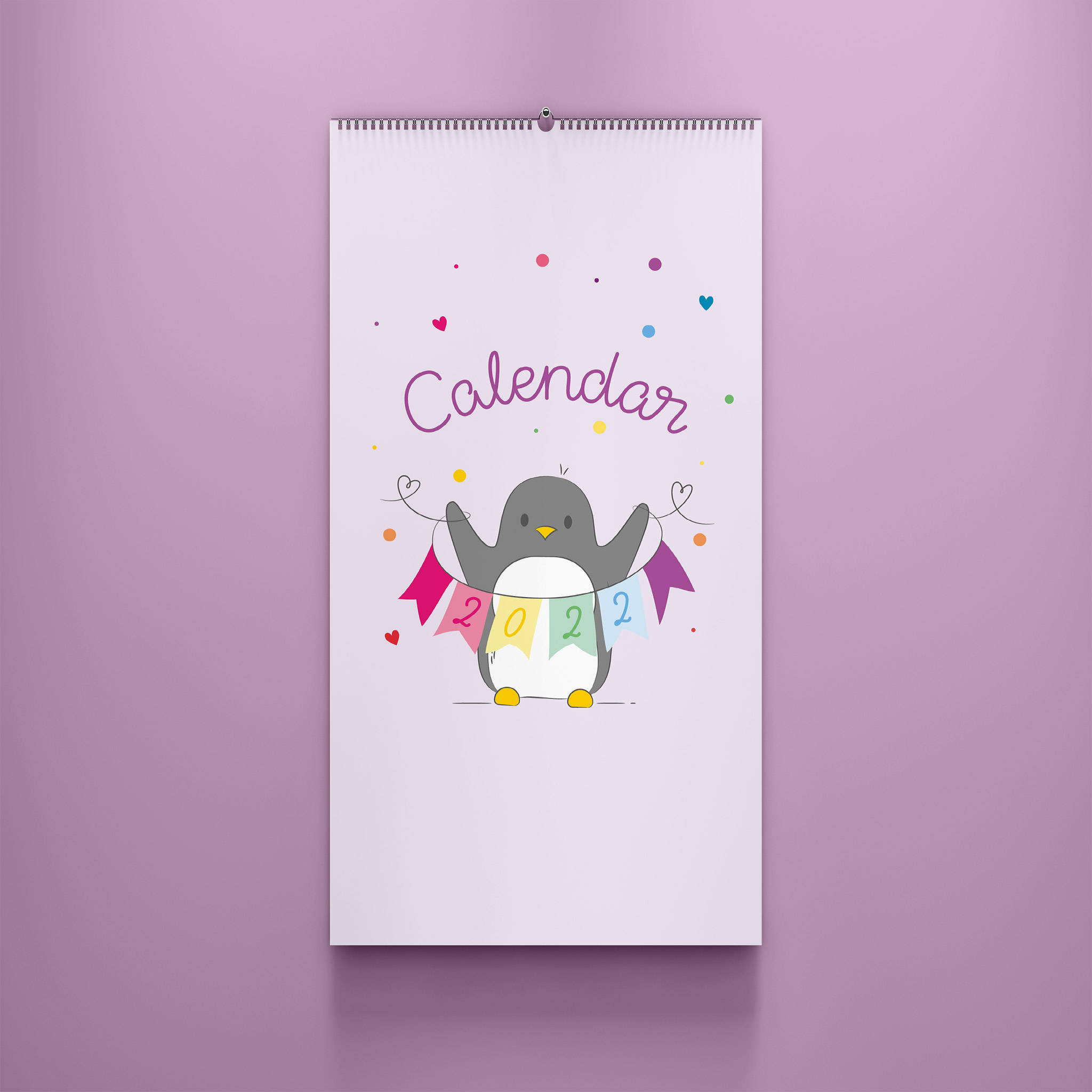 A photo of the 2022 Penguin Small Household Family Planner. This is the front cover and it sits against a lilac background.