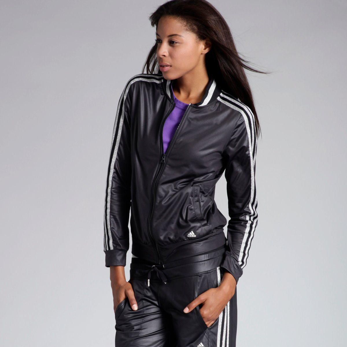 Black Adidas Woven Tracksuit Front Pose