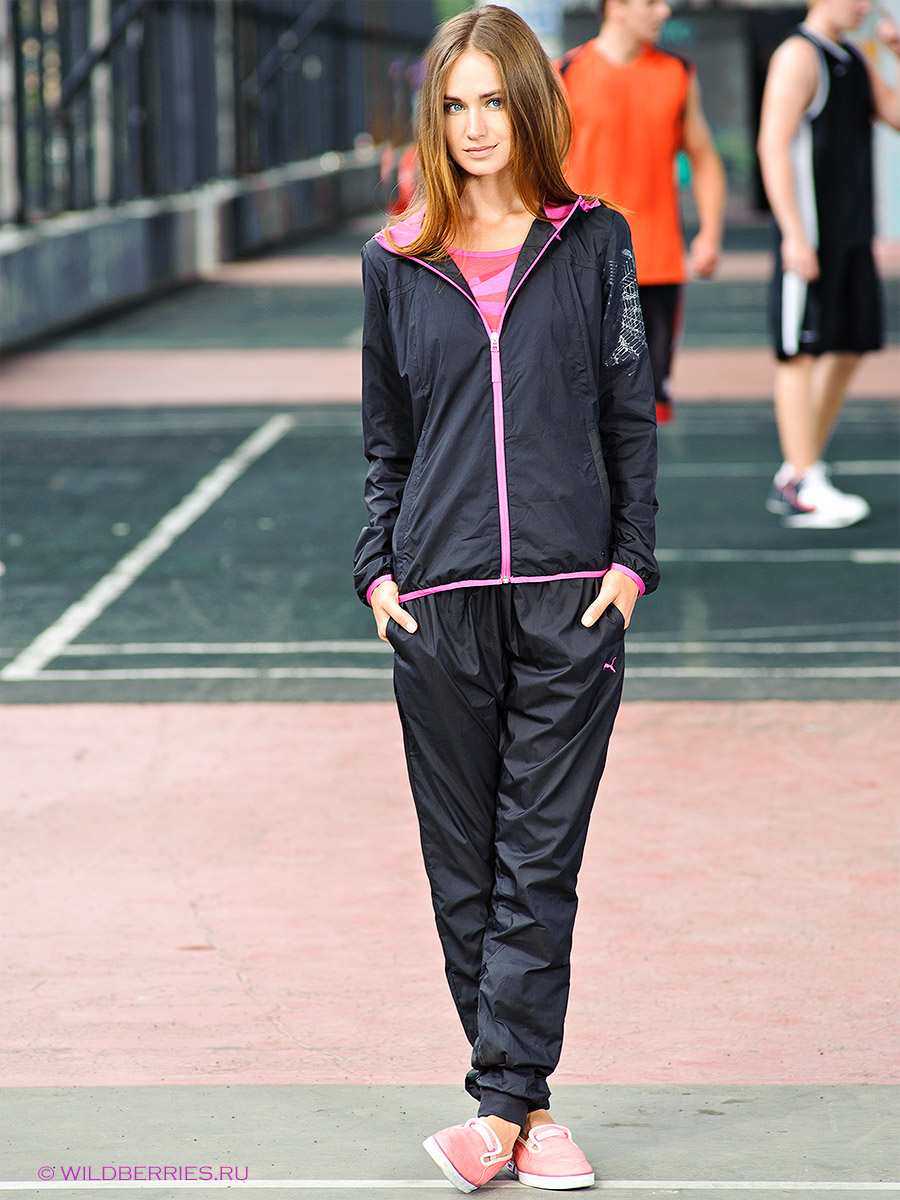 Black Puma Tracksuit with Pink Trim Full Body