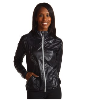 Shiny Black Mizuno Sprinter Jacket Front Shot