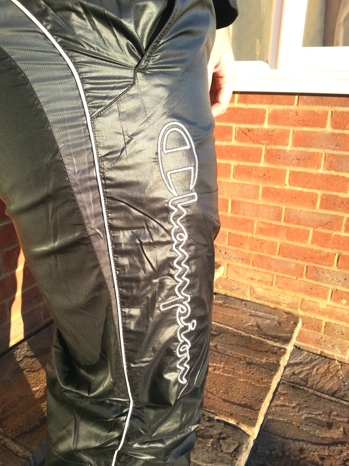 Men's Champion Shiny Nylon Pants in Black Logo