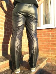 Men's Champion Shiny Nylon Pants in Black Back View