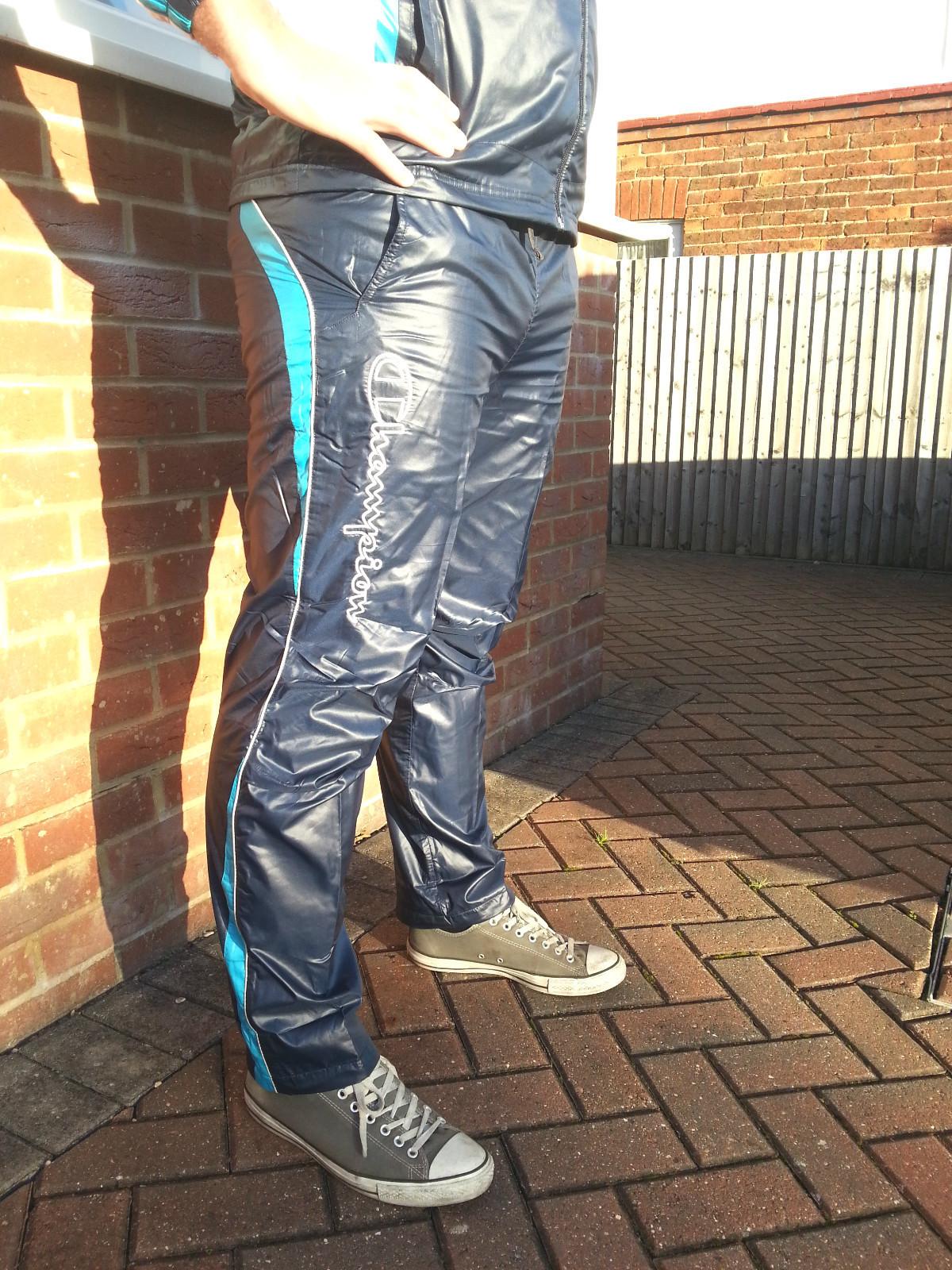 Men's Champion Shiny Nylon Pants in Blue Side View