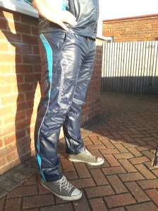 Men's Champion Shiny Nylon Pants in Blue Side View