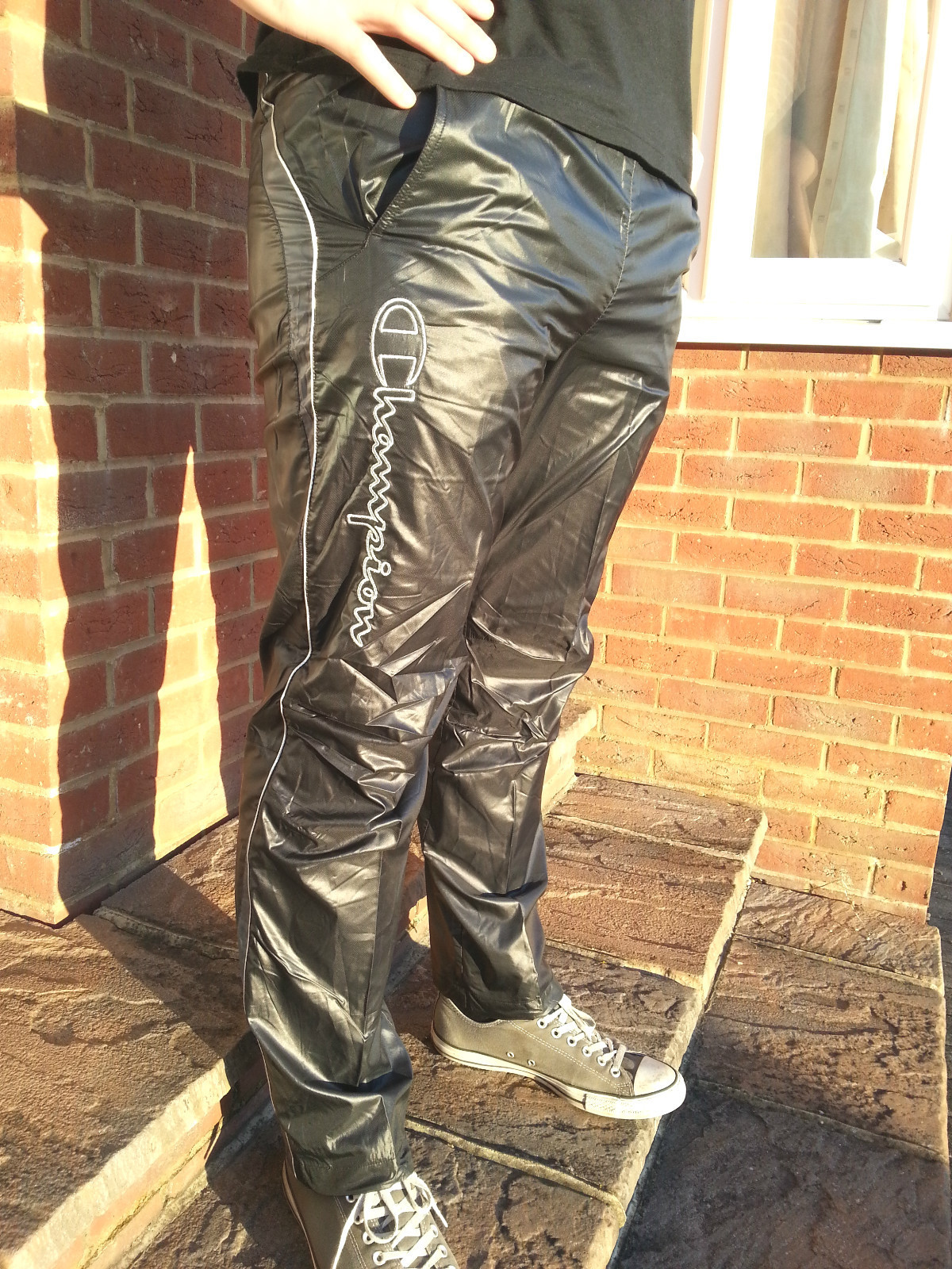 Men's Champion Shiny Nylon Pants in Black Side View