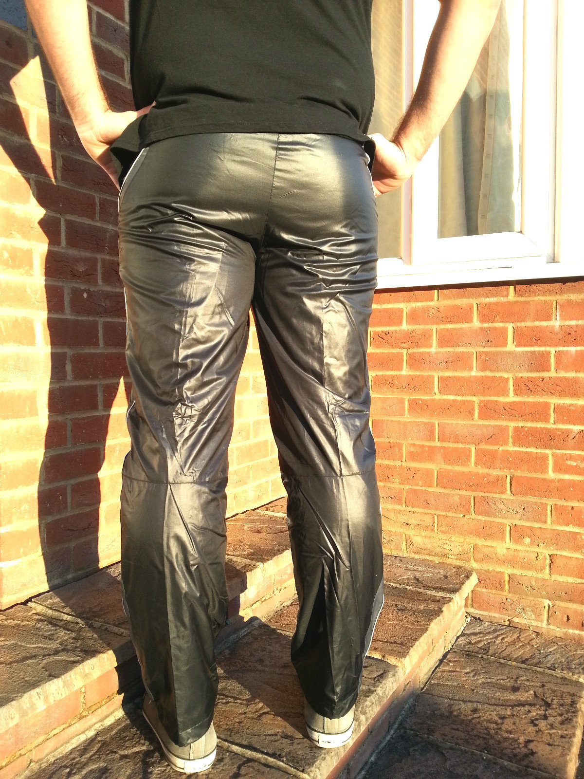 Men's Champion Shiny Nylon Pants Back View