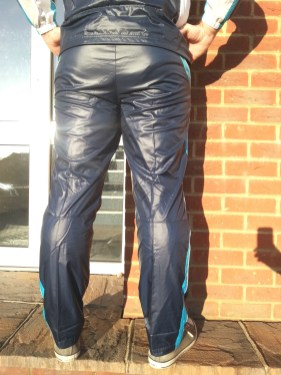 Men's Champion Shiny Nylon Pants in Blue Back Shot