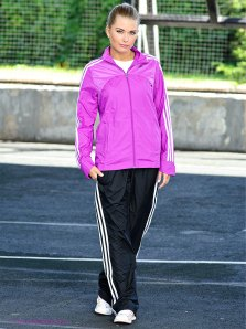 Shiny Adidas Performance Tracksuit Black and Pink Front View