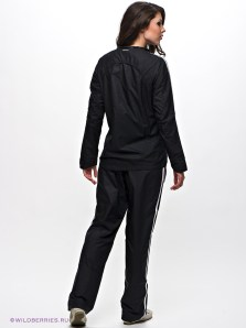 Shiny Adidas Performance Tracksuit Black with White Stripes Rear View