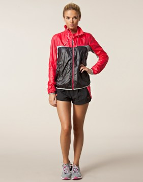 Black and Red Shiny Puma Jacket Full Frontal
