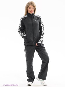 Shiny Adidas Performance Tracksuit in Black Front View