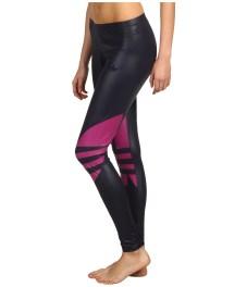 Shiny Adidas Liquid Leggings Black & Pink Side View