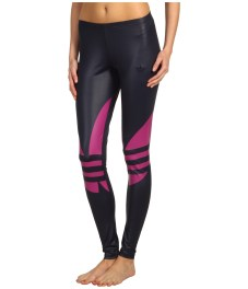 Shiny Adidas Liquid Leggings Black & Pink Front View