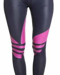 Shiny Adidas Liquid Leggings Black & Pink Close Up
