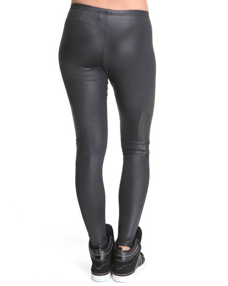 Shiny Adidas Liquid Leggings in Black Back View