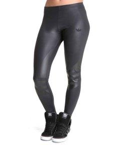 Shiny Adidas Liquid Leggings in Black Front View
