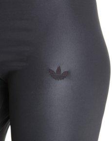 Shiny Adidas Liquid Leggings in Black Logo Close Up