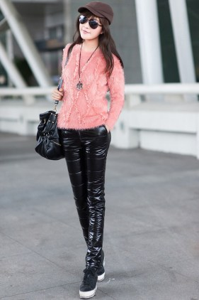 Shiny Black Nylon Down Pants Front