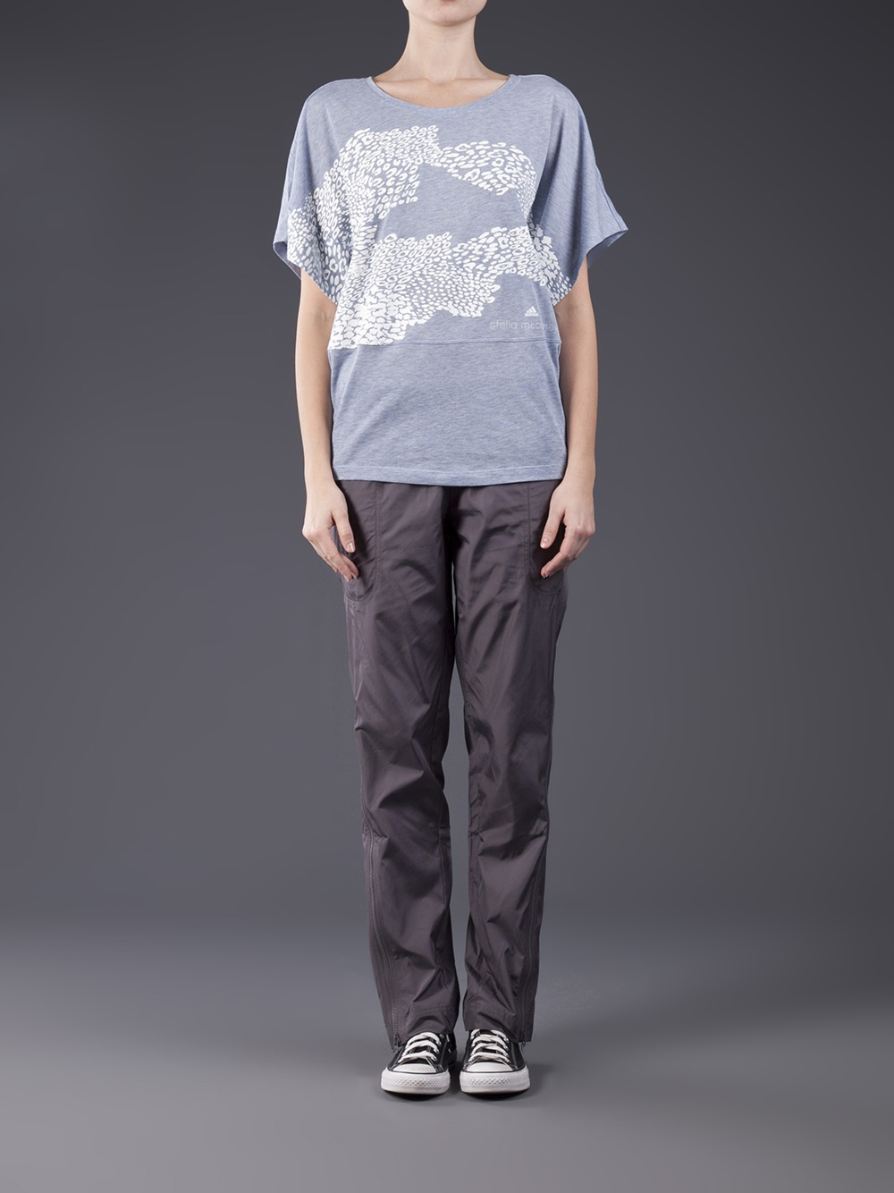 Adidas Stella McCartney Pants Studio Woven in Charcoal Gray Front View
