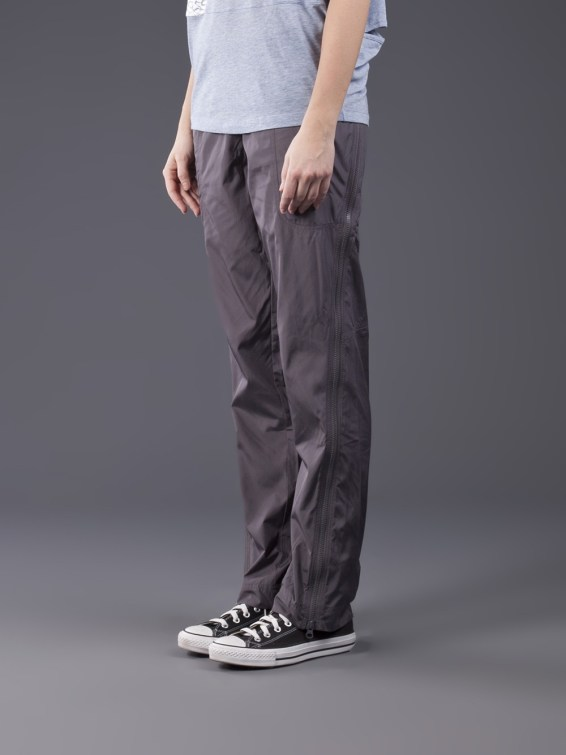 Adidas Stella McCartney Pants Studio Woven in Charcoal Gray Profile View