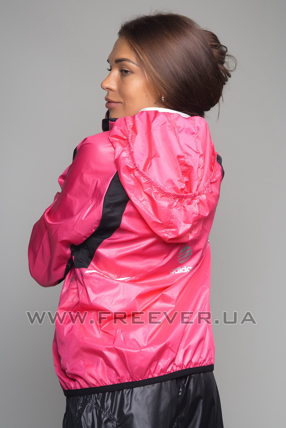 Women's Black and Pink Shiny Adidas Tracksuit