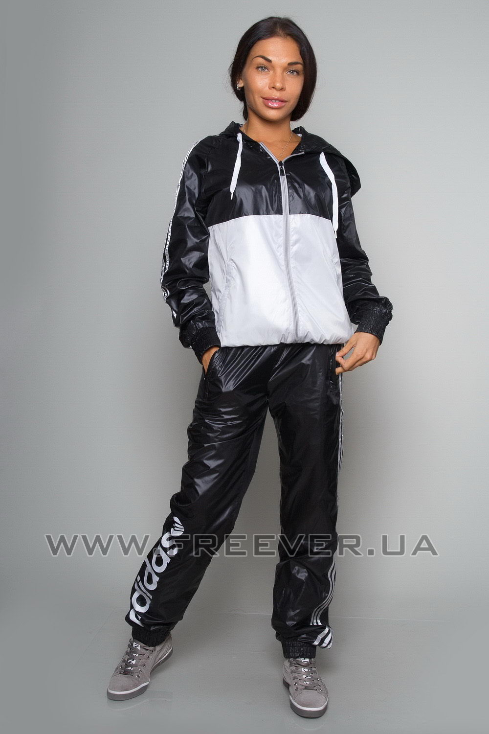 Black and White Shiny Tracksuit from Adidas