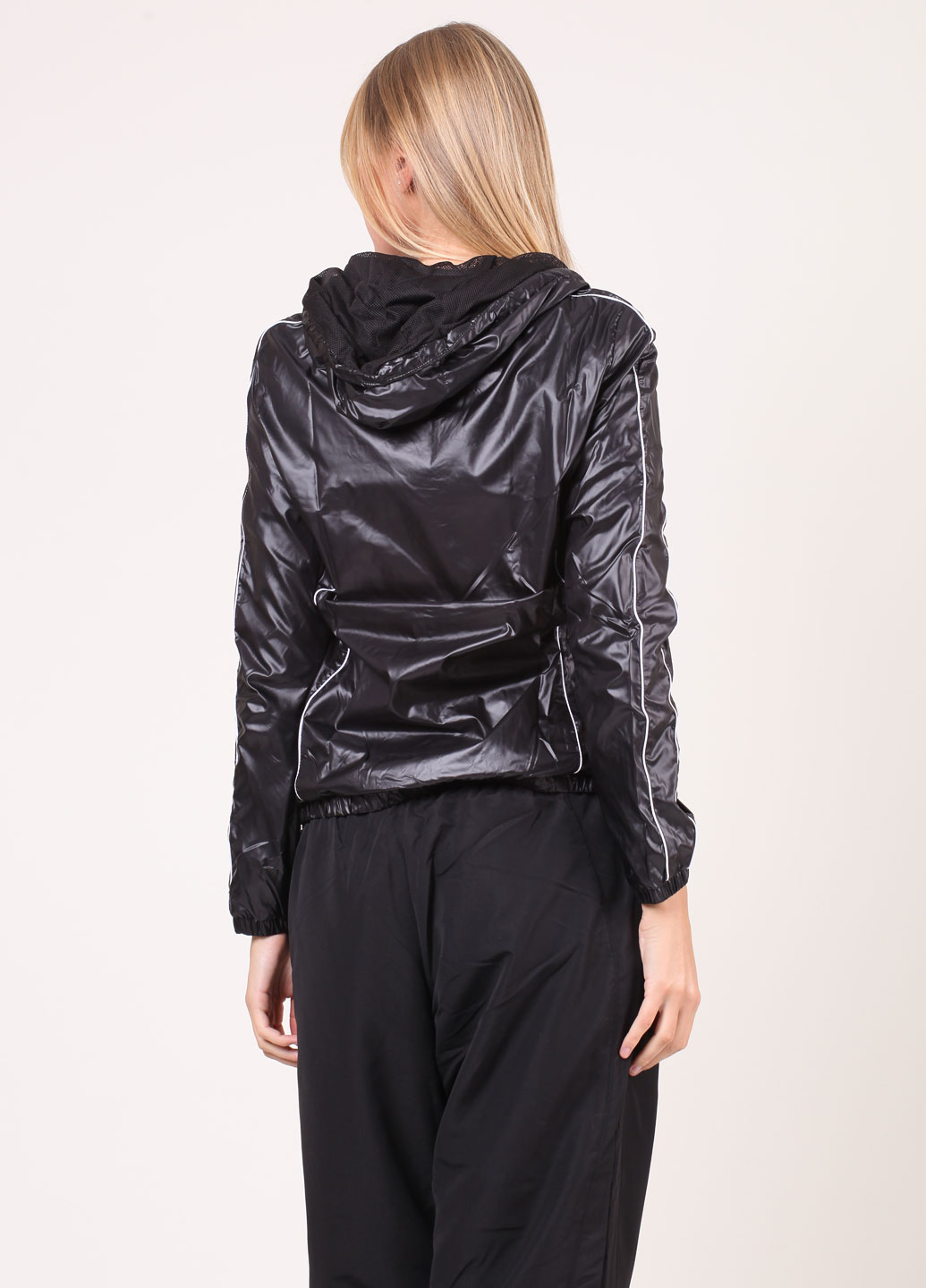 Shiny Black Puma Jacket Back View