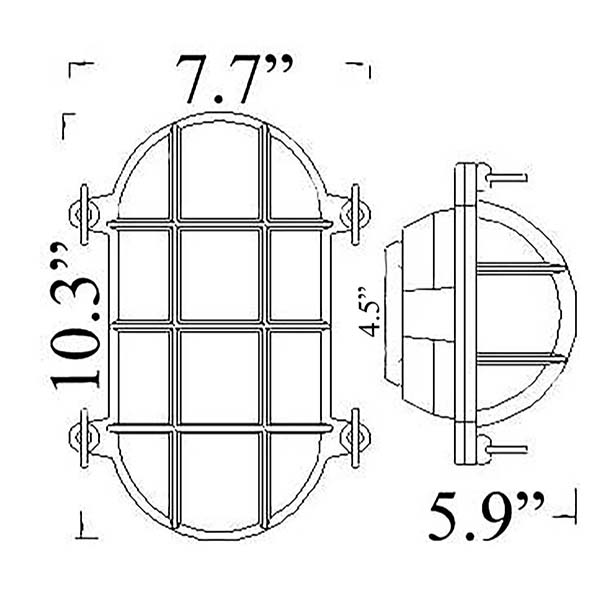 Nautical Oval Cage Bulkhead Sconce Diagram by Shiplights