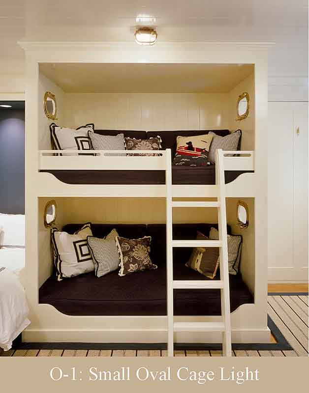 Small Oval Cage Light in Kids Bunk Room by Shiplights