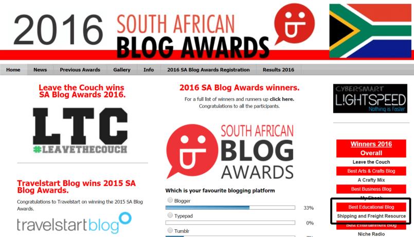 Best educational blog in SA Blog Awards 2016