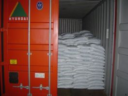 bagged cargo packed in a container