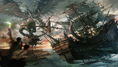 conceptart,sailships,art,dragon,fantasy,painting-86fec8008a5e27b29edbffff238c8e73_h