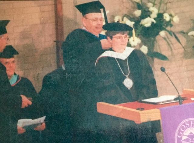 J. Lawrence Burkholder, Myrl Nofziger, Elvin Kraybill (nearly hidden), Victor Stoltzfus, me, 1997. Goshen College inauguration.