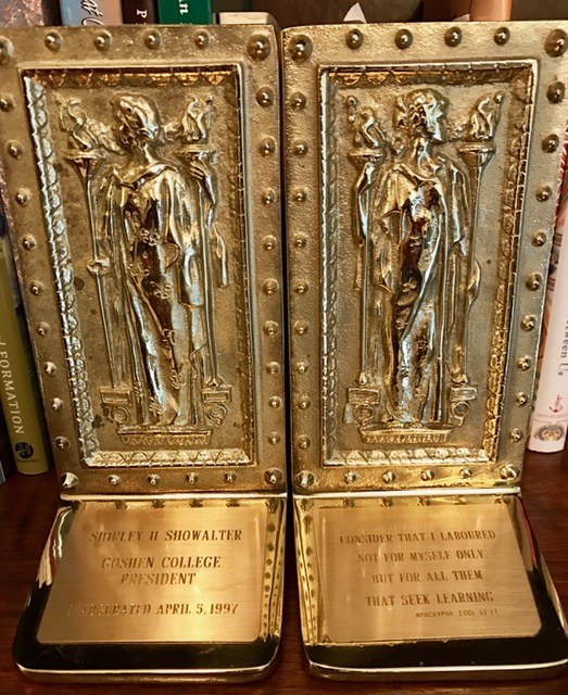 These brass bookends were an inauguration gift from my brother- and sister-in-law.