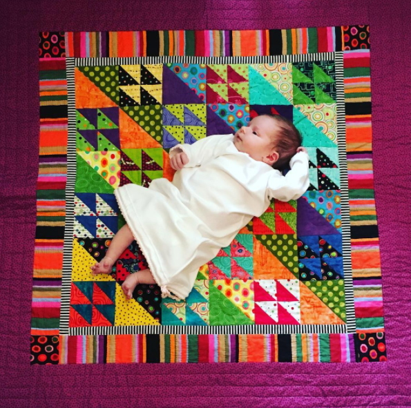 Meanwhile, in Pittsburgh, Mennonite quilting arts continue into another generation with verve. Aunt Jan's amazing quilt of many colors.