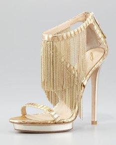 B Brian Atwood – Metal Fringe Back-Zip Sandal, Gold