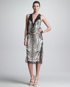 Roberto Cavalli – Mixed-Print Dress & Metallic Belt