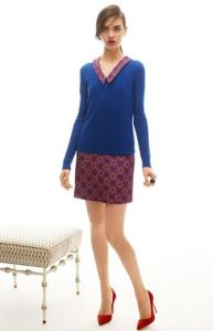 Geo Tile Print Silk Dress with Sofie V-Neck Cashmere Sweater