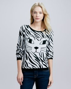 Alice + Olivia's Reyn Sequined-Cat Sweater