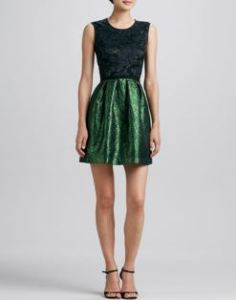 Erin by Erin Fetherston - Lace-Bodice Combo Party Dress