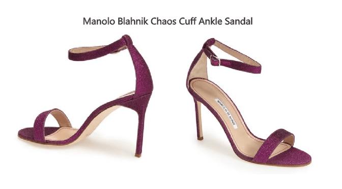 Manolo Blahnik Chaos Cuff Ankle Sandal in Purple Glitter